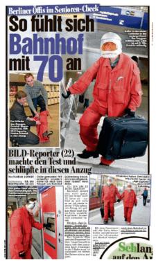 BILD: So fühlt sich Bahnhof mit 70 an. BILD-Reporter (22) machte den Test und schlüpfte in diesen Anzug. Florian Schmidt.
