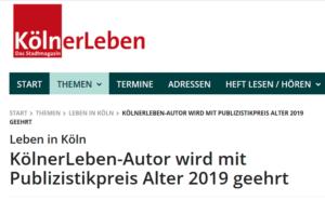 Kölner Leben Publizistikpreis Alter Meyer-Hentschel Institut