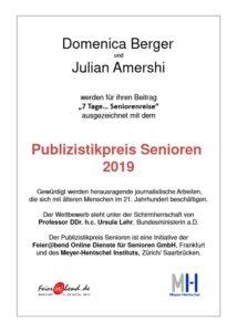 Urkunde Publizistikpreis Alter 2019 Meyer-Hentschel Institut